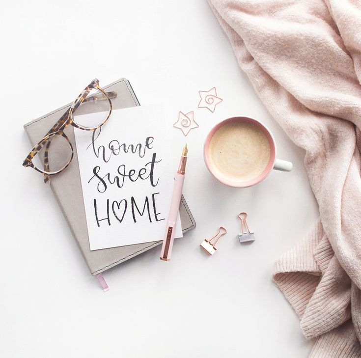 Home sweet home flatlay with calligraphy quote