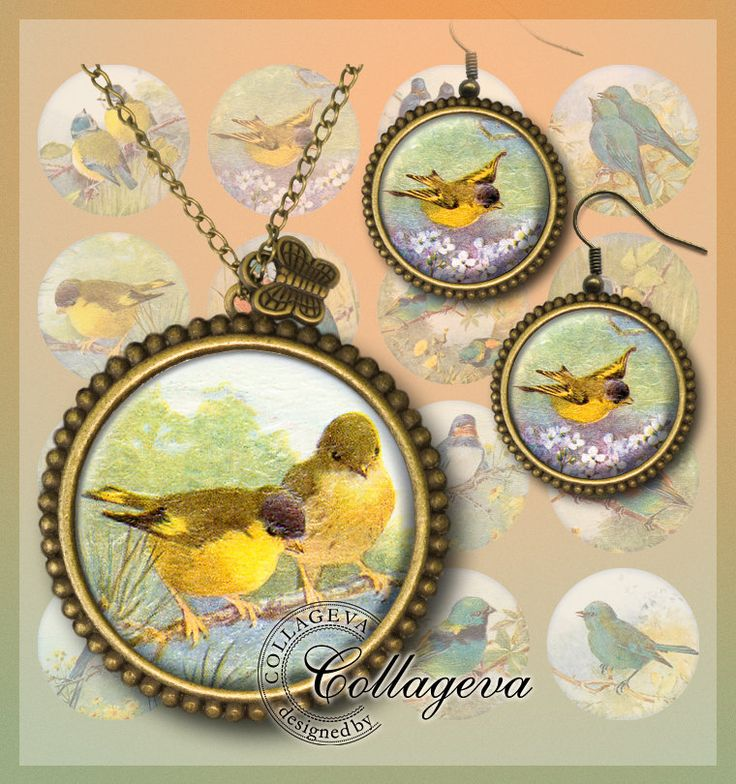 Little Birds Digital Collage Sheet 20 18 16 14 12 mm circles Swallow Bluebird Songbird Printable Ephemera Images for earrings rings (EA01-c) by collageva on Etsy