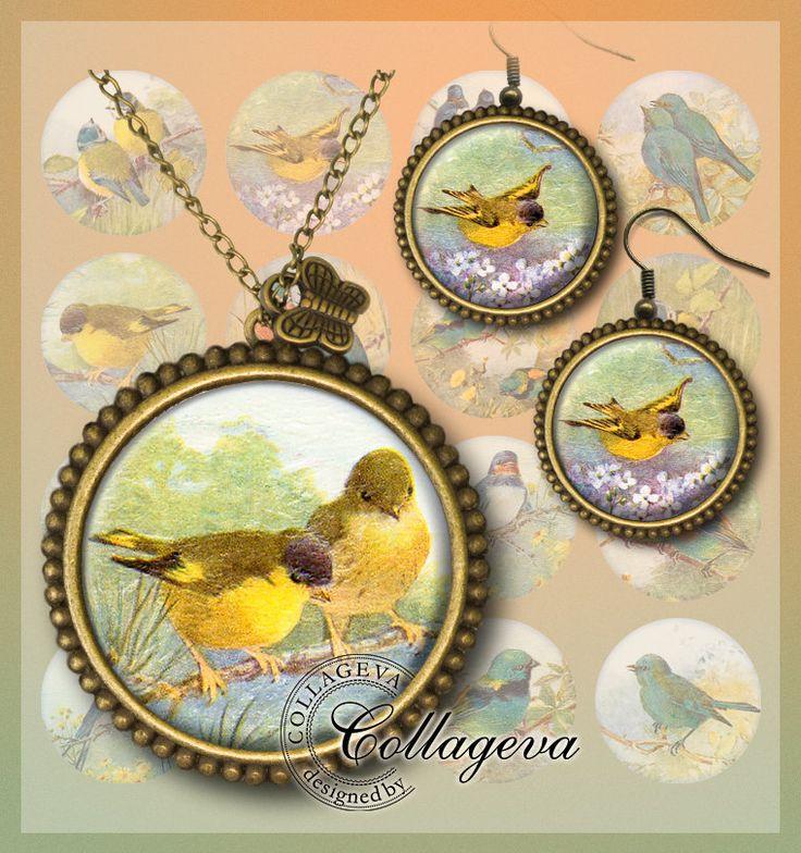 Little Birds Digital Collage Sheet 20 18 16 14 12 mm circles Swallow Bluebird Songbird Printable Ephemera Images for earrings rings (EA01-c) by collageva on Etsy