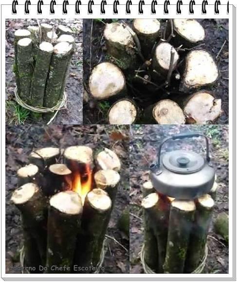 Tipo interessante de fogueira, bacana para cozinhar algo