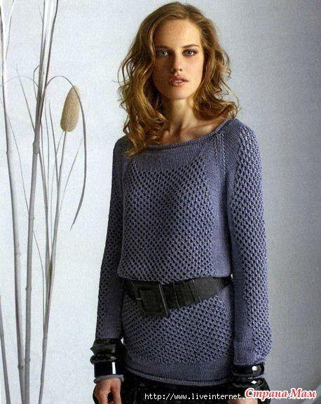Удлиненный пуловерреглан спицами.