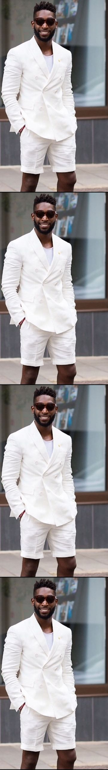Short Pants Style Ivory White Men Suit Custom Slim Fit 2 Pieces Beach Wedding Party Tuxedo Terno Masculino 2017 (Jacket+Pants)