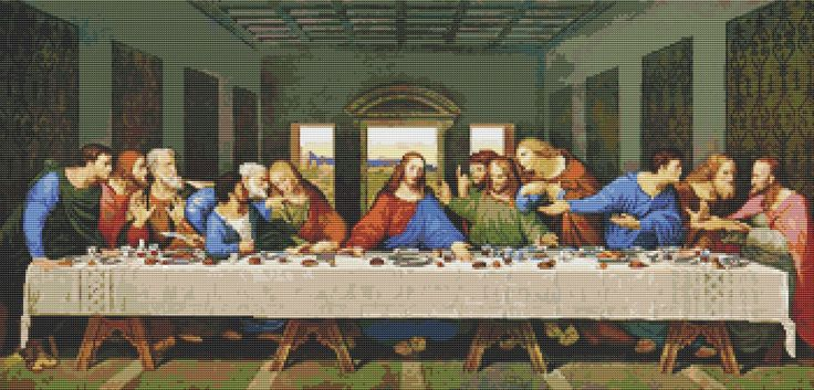 PREMIUM Counted Cross Stitch KIT The Last Supper by Leonardo da Vinci by TheArtofCrossStitch on Etsy. Also available in PDF. #crossstitch