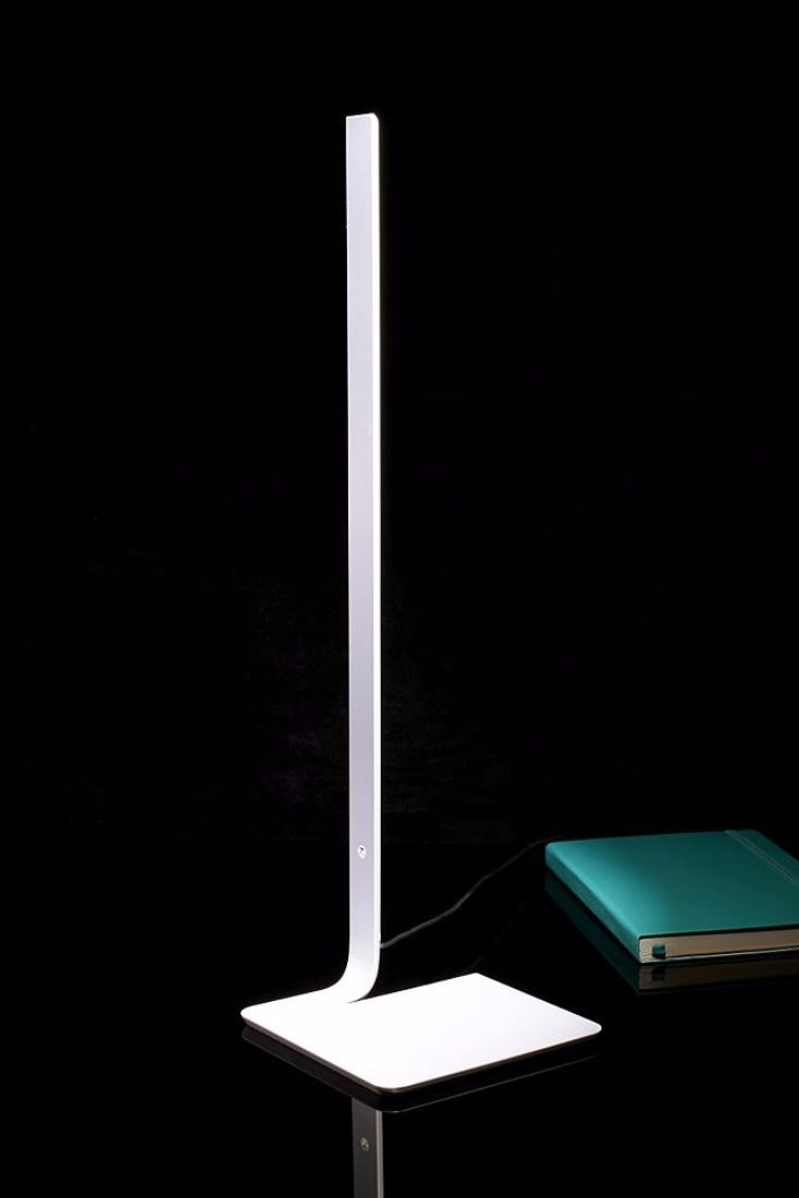 Up LED Table Lamp By Fx Ballery for Arpel Lighting Slender, with concealed LED modules and touch dimming capability.