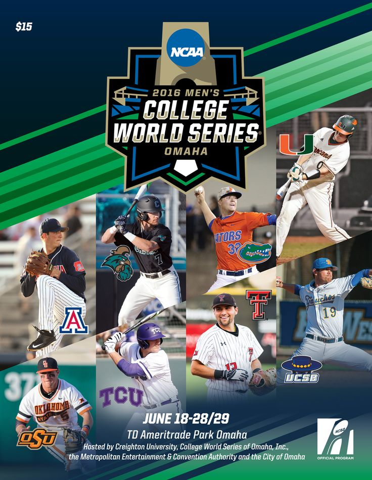 2016 NCAA Division I Baseball Men's College World Series Program, featuring Nathan Bannister of Arizona, Zach Remillard of Coastal Carolina, Logan Shore of @floridagators, Zack Collins of Miami (FL), Donnie Walton of Oklahoma State, Luken Baker of @tcuedu, Eric Gutierrez of Texas Tech and Shane Bieber of UCSB. #RoadtoOmaha #CollegeWorldSeries #CWS