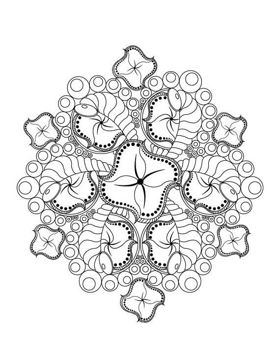Abstract Flower Mandala Advanced Coloring Page for Adults