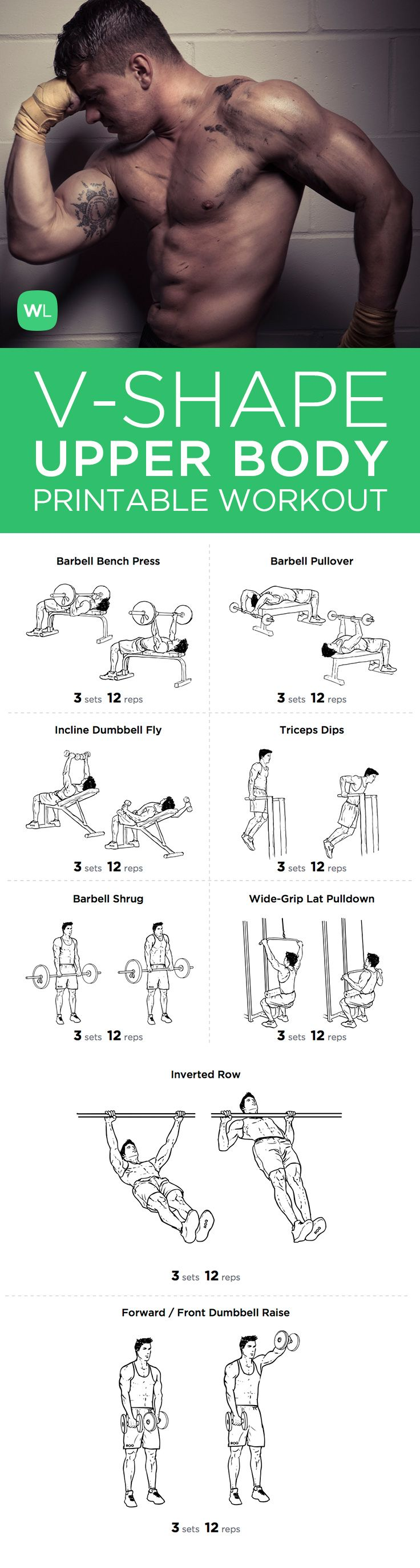V Shape Upper Body Printable Workout Plan For Chest Shoulders And Lats