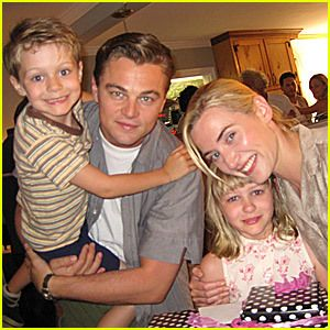Leonardo DiiCaprio with Kate-Winslet and her 2 oldest children.Mia from her 1st marriage and Joe from her 2nd