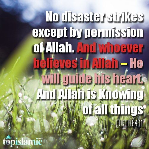 No disaster strikes except by permission of Allah . And whoever believes in Allah – He will guide his heart. And Allah is Knowing of all things. Quran 64:11