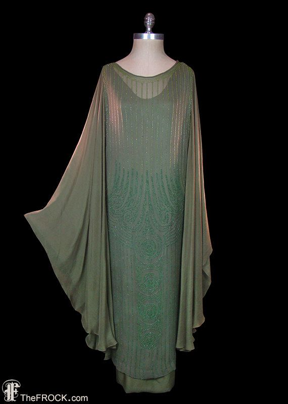 Flapper dress, 1920 art-deco gown, beaded silk chiffon, angel wing sleeves, Great Gatsby style, authentic antique couture, large