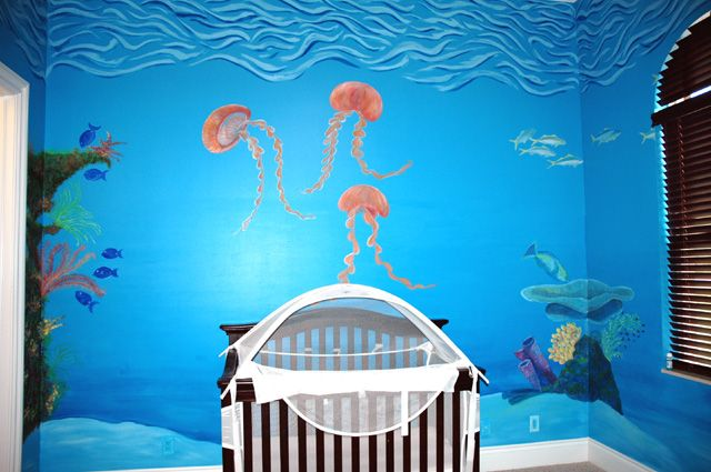 "underwater themed #nursery! could use a little more ""pizazz,"" but i love the mural on the wall!"