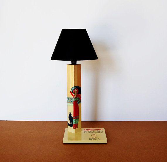 Vintage lamp advertisement handmadehandpainted by QrtosCreations