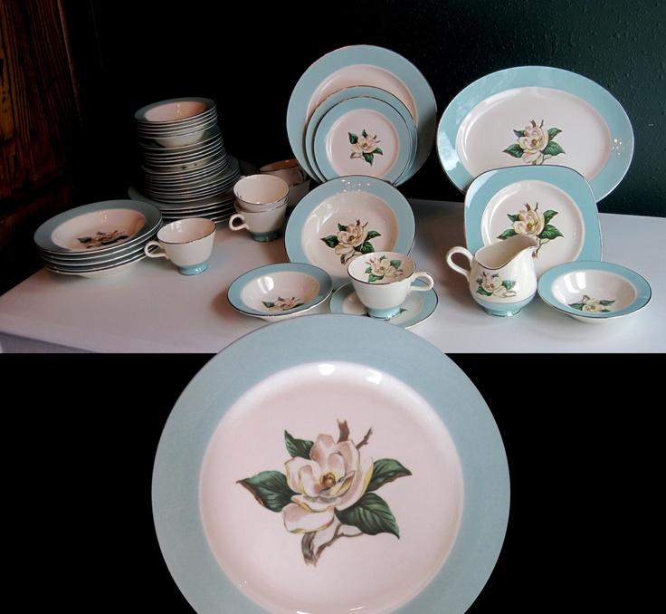 Wedding China Dinnerware Set Lifetime China Turquoise w/ Flower 46 Pcs & 25 best Lifetime China 12 Turquoise images on Pinterest   Magnolia ...
