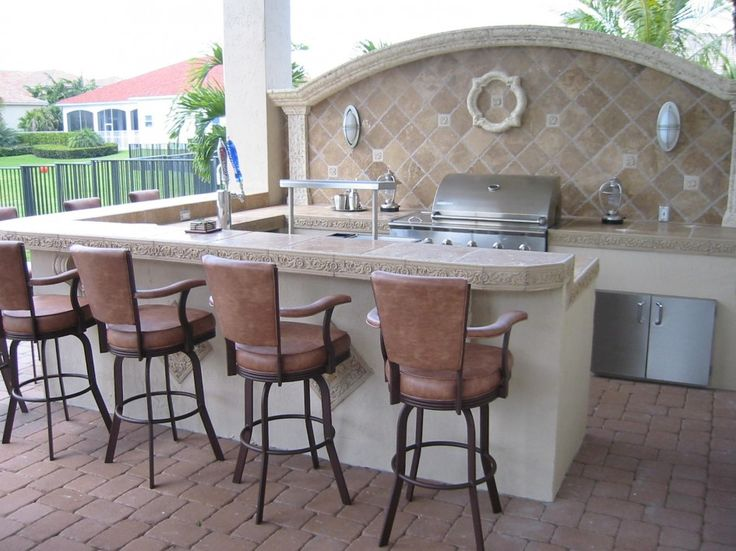 Stylish Quality Outdoor Kitchens Bradenton Fl With Travertine Diamond Tile For Kitchen Backsplash And Swivel Leather Outdoor Bar Stool With Backrest And Arms Also Contemporary Outdoor Wall Lighting Fixtures from DIY Outdoor Kitchen Guide