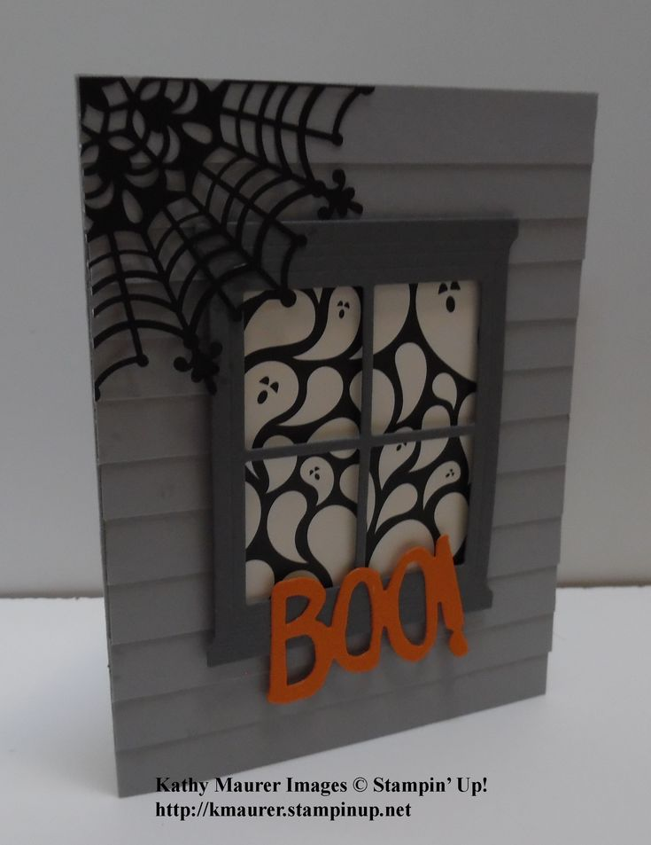 Halloween Card made with Stampin' Up!'s Hearth & Home Thinlits, Boo to You Framelits, and Happy Haunting Designer Series Paper. For details go to my Monday, September 14, 2015, blog at http://kmaurer.stampinup.net