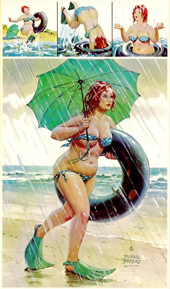 Hilda - goes swimming with tube, starts to rain, green umbrella and fins