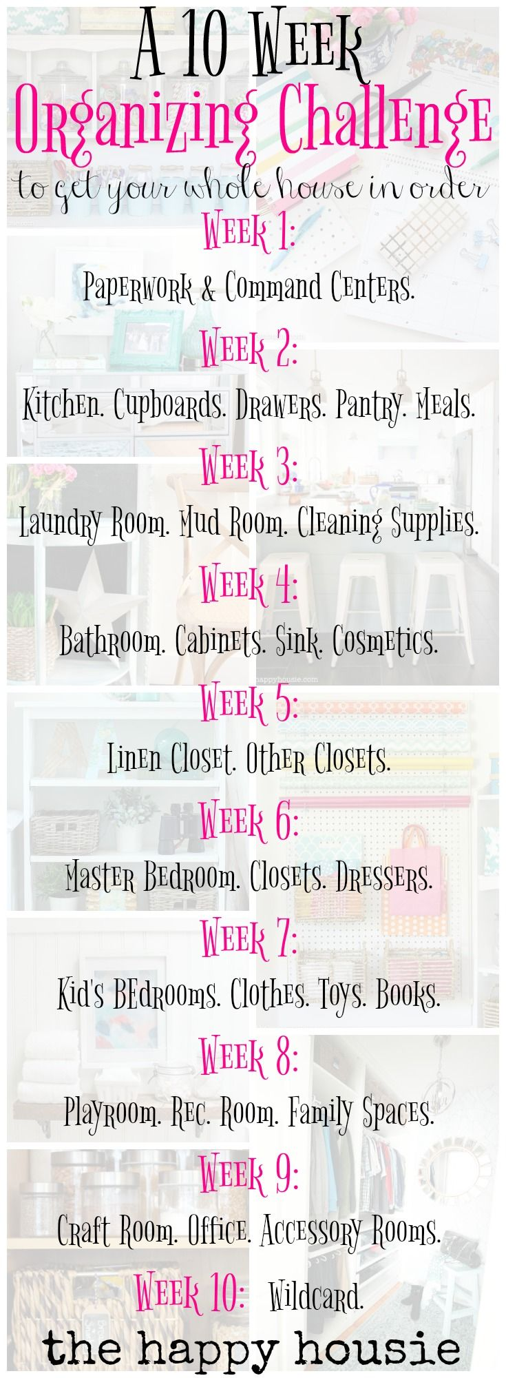 Get your whole house in order in ten weeks! Details and a plan and a challenge at the happy housie