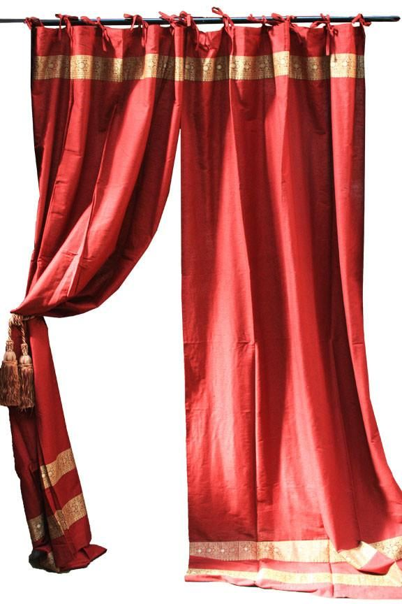 Burgundy Art Silk Curtains