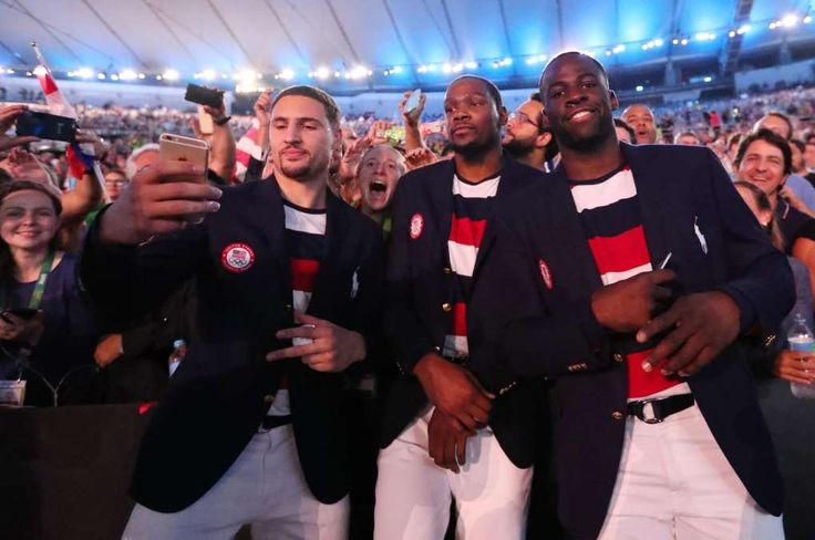 No one safe from Green's Snapchat jokes, not even in Rio  -      Aug 5, 2016; Rio de Janeiro, Brazil; USA basketball players Klay Thompson , Kevin Durant , Draymond Green during the opening ceremonies for the Rio 2016 Summer Olympic Games at Maracana.  -    August 5, 2016