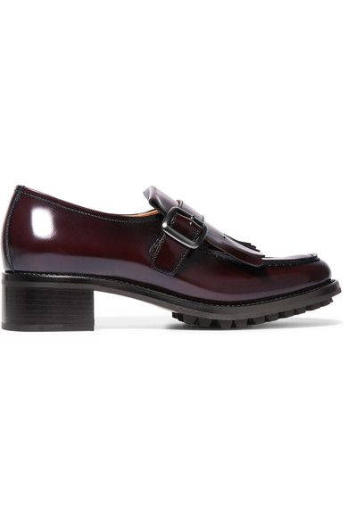 Church's - Pilar Fringed Glossed-leather Loafers - Burgundy - IT35