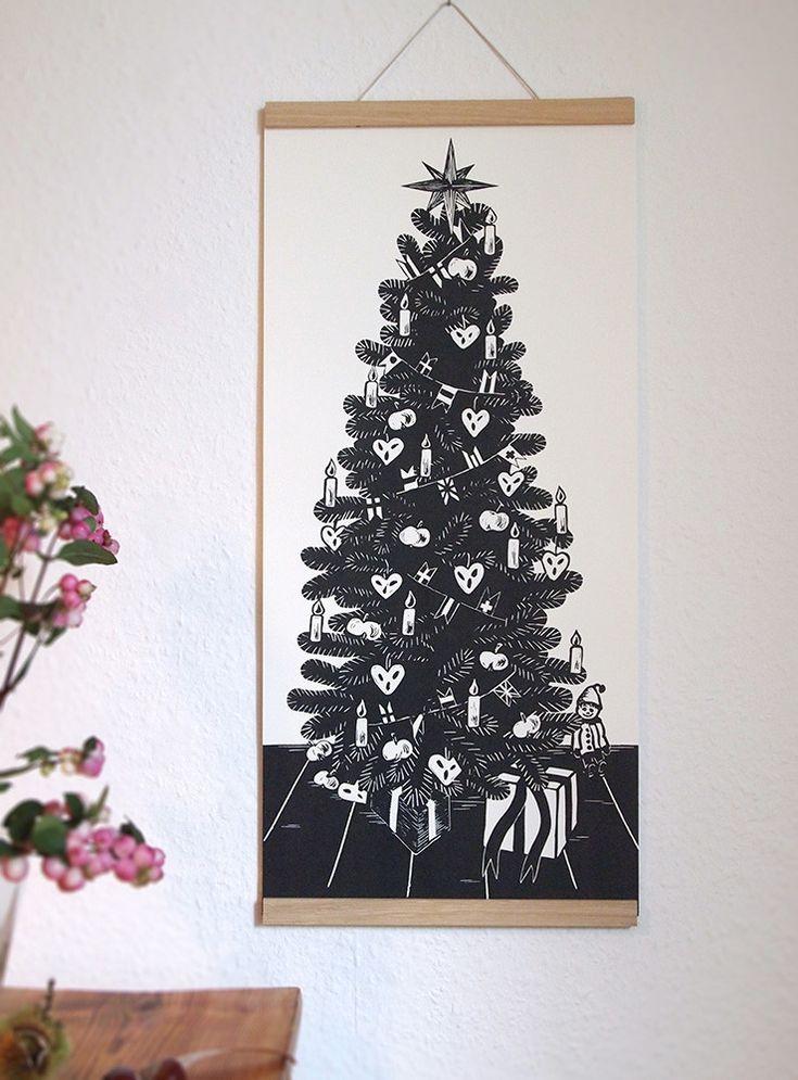 Tannenbaum-Poster - Ahoimeise Handgedrucktes und Illustriertes