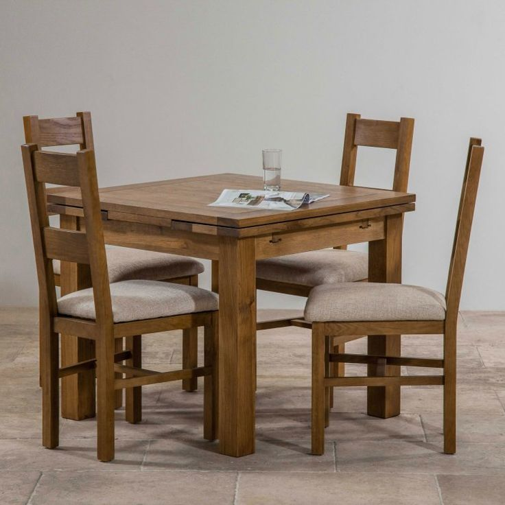 Rustic Solid Oak Dining Set   3ft Extending Table With 4 Farmhouse And  Plain Beige Fabric Chairs