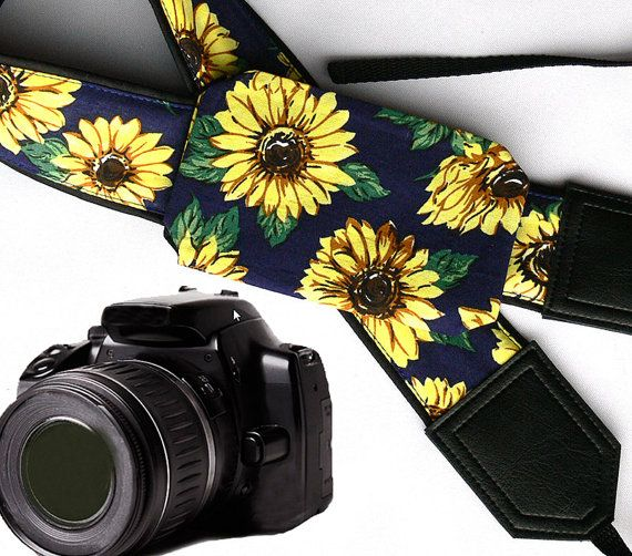 Sunflowers Camera strap with lens pocket.  Flowers by InTePro