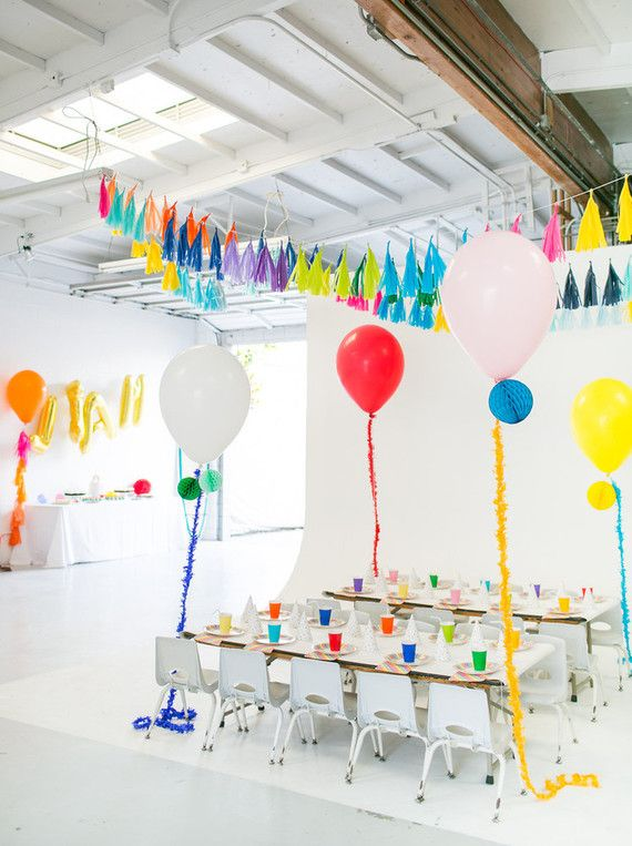 Modern, rainbow kids birthday party. We adore this and that it was hosted in a studio!