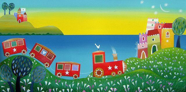 Treno Rosso Matutino. Red morning train. Sea. Tiziana Rinaldi