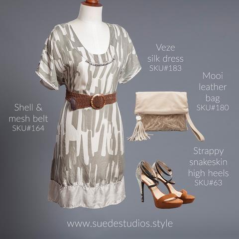 Suede Studios Style: Veze silk dress, shell & mesh belt, Mooi cream leather belt & strappy snake skin high heels.