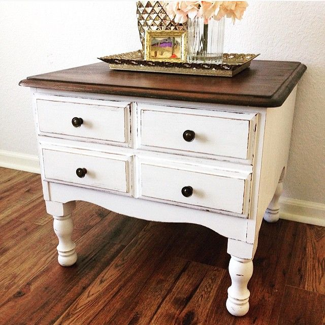Sweet side table restyle by Shayla Martin! She used Java Gel Stain and Behr paint on this shabby chic beauty. We suggest our Antique White Milk Paint for a similar look!