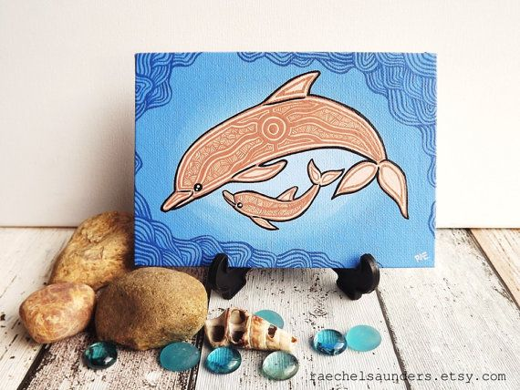 "Dolphin Art, Mother and baby, Aboriginal Painting, Original Acrylic painting on canvas board, blue painting, 5"" x 7"", Australian Shop"