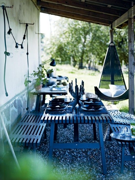 Furniture:Calm Scandinavian Terrace Design In Black With Long Bench And Dining Table With Chairlift Also Tableware And Chandeliers Decoratin...