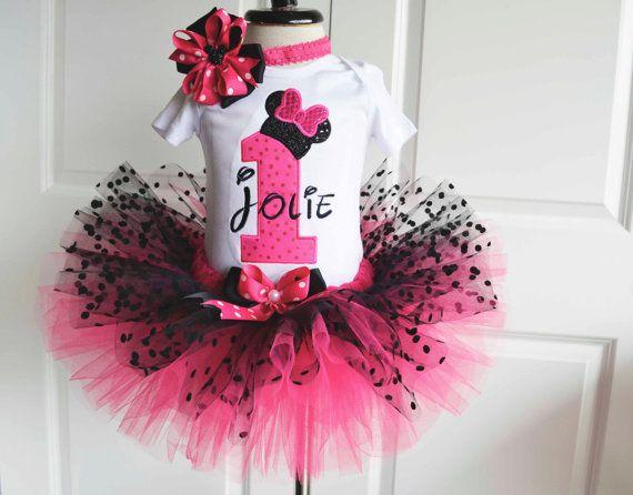 Bebé niña primer cumpleaños conjunto, traje de tutu rosado caliente del ratón negro, traje de primer cumpleaños de las niñas, 1 traje de cumpleaños, pastel cumpleaños smash equipo