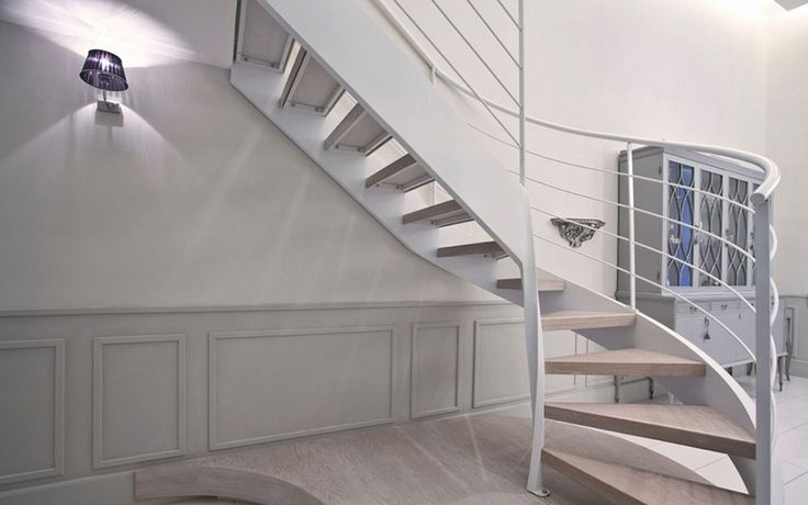 The large helical staircase, made from steel and decapè wood, which connects the two floors #interdema #shabbychic #contemporarydesign