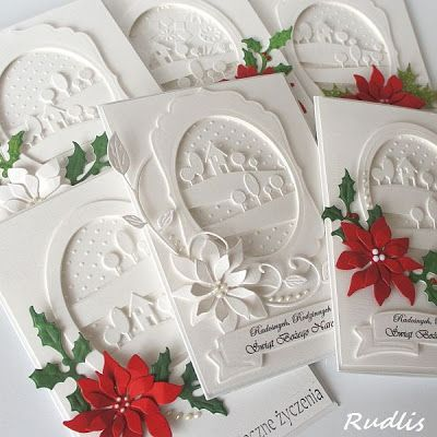 White Christmas cards - Poppy Stamps, Memory Box dies