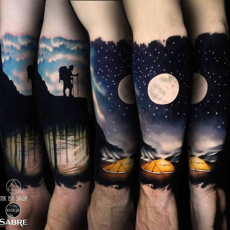 Mountain Man & Super Moon tattoo by @inkbysaga at Boss Tattoos in Calgary Alberta