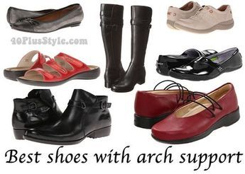 Best arch support shoes for women - list of brands, pics of shoes. Says Birkenstock has inserts you can buy that are affordable