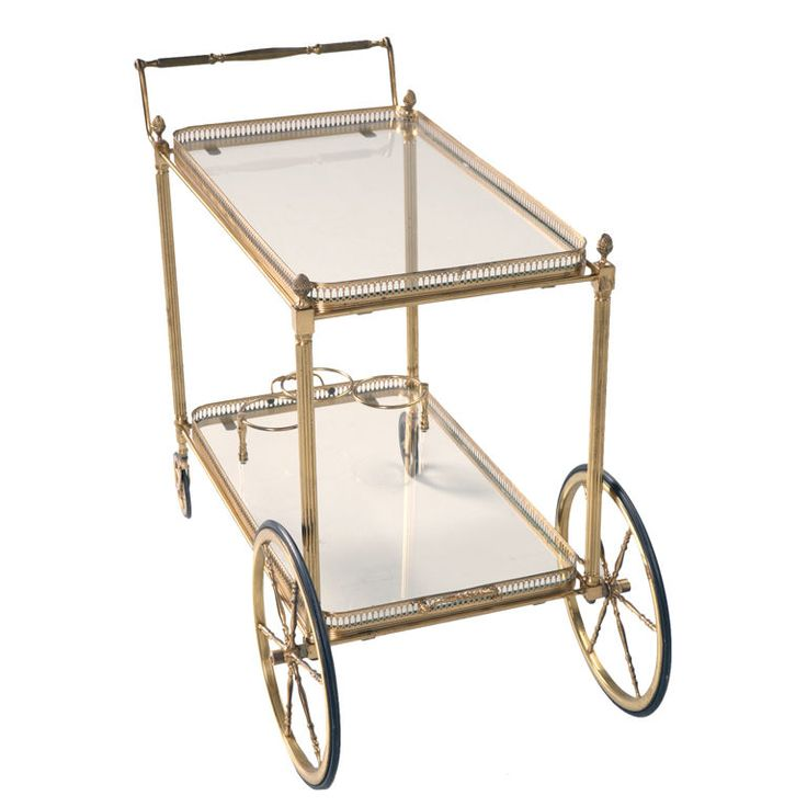 Stately Vintage French Brass & Glass Tea or Bar Cart