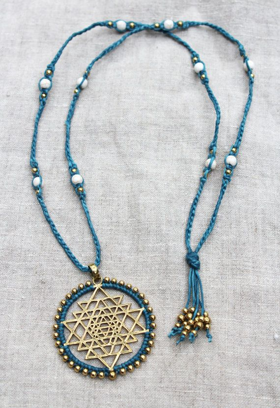 Sri Yantra necklace, Sacred Geometry pendant, boho tribal blue macrame necklace, howlite semi precious stone