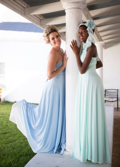 Find a shade to suit every skin tone in our range of beautiful evening length Infinity bridesmaids dresses. Call us to order: 021 556 3407