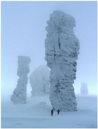 """""""Columns of Erosion ~ Komi Republic of Russia..which are also known as Manpupuner. They are considered amongst the most mysterious attractions of the world. Locals refer to them as the """"7 Strong Men"""" even as scientists try to explain these gigantic tower-like structures - with heights that reach up to 42 meters - that seem to have sprouted out of nowhere on the flat plateau. The site is hard to reach but once again, totally worth your time as well as you"""