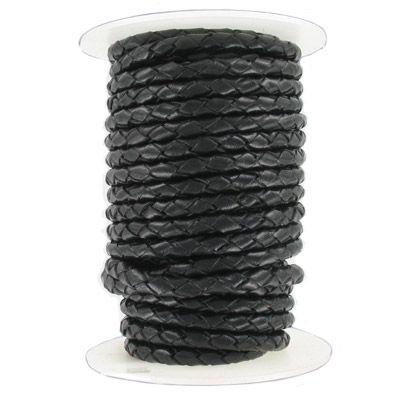 Braided leather cord, 5mm, black, 10 meters
