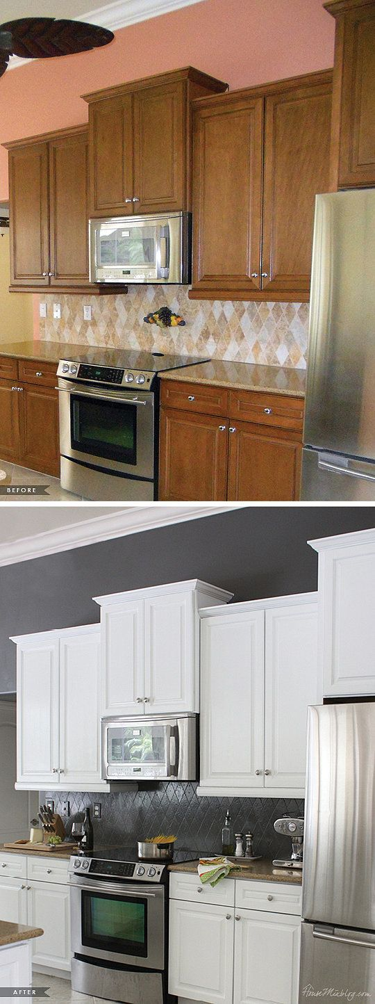 See how paint transformed this old fashioned kitchen into something more modern.