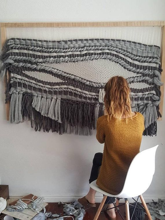 Extra Large Blue And Grey Woven Tapestry 5ft Texture Etsy Tapestry Weaving Weaving Wall Hanging Diy Weaving