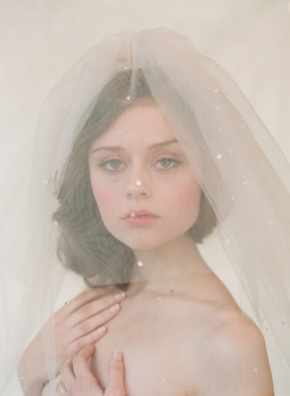 Bridal blusher wedding veil Double layer teardrop veil by myrakim. $110.00, via Etsy.