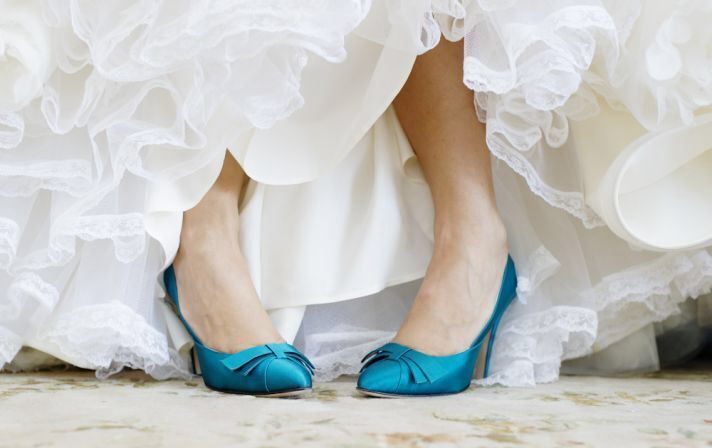 Blue satin wedding shoes