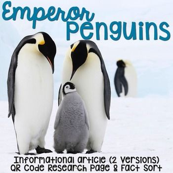 Emperor Penguins: Informational Article, QR Code Research & Fact Sort includes an article about emperor penguins in two formats (two-page color photos & one-page text), QR Codes for online articles and videos about emperor penguins and a fact sort sheet where students can sort facts about lions.I use these articles as a resource when researching and writing about animals.