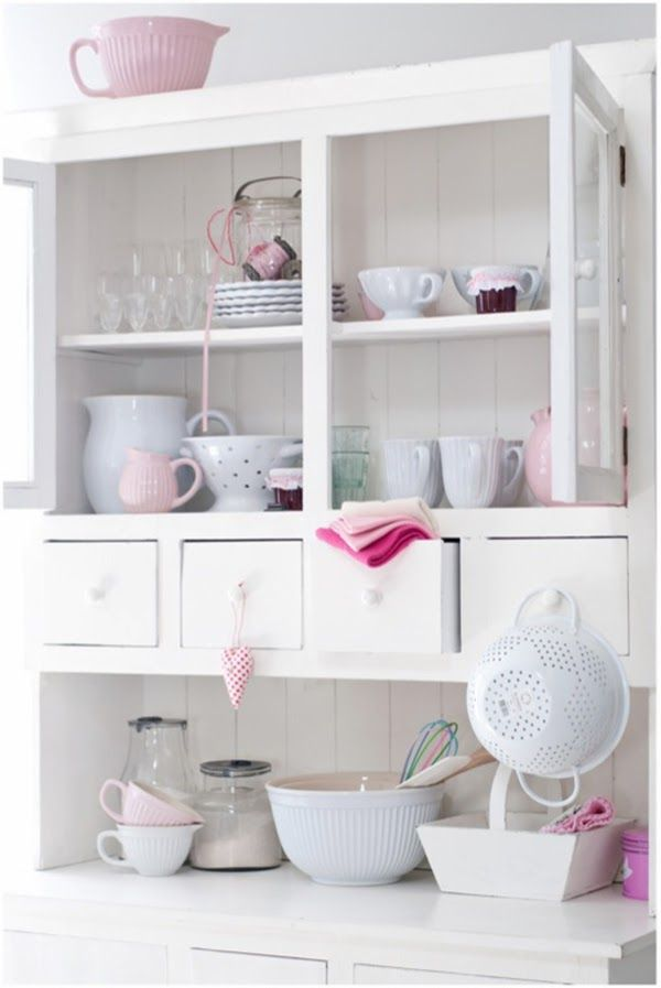 Dining storage dresser/hutch full of pastels and beautiful things