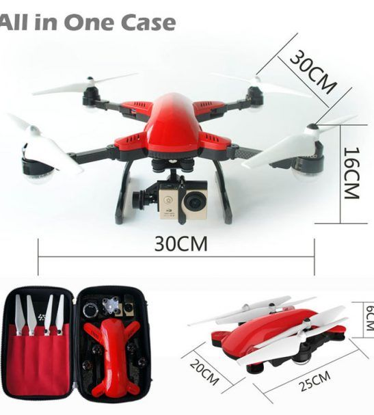 Professional Photography Drone with 4K HD camera, FPV video on mobile phone via APP. RC radio controller and Auto-follow-me function with GPS tracking.